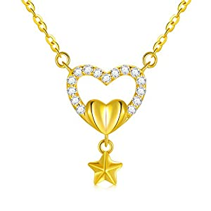 """18k Yellow Gold Heart Necklace for Women, Engraved with""""Love"""" Anniversary Jewelry for Wife Girlfriend, Gifts for Her, 16-17 Inch"""