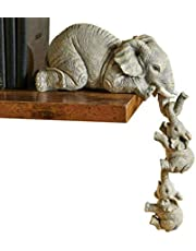 Elephant Figurines Home Decor, Mini Elephant Ornament Statue Collection Mother and Two Babies Hanging Ornament, Resin Animal Sculpture for Living Room Bedroom Office Edge of Shelf or Table Gifts