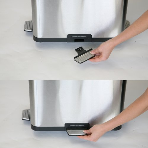 iTouchless 13 Gallon Step Sensor Stainless Steel Trash Can, Automatic Kitchen Trash Can with Unique Pedal Sensor Technology and Deodorizer