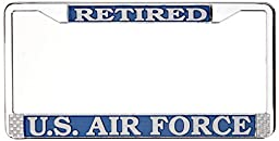 US Air Force Retired License Plate Frame (Chrome Metal)