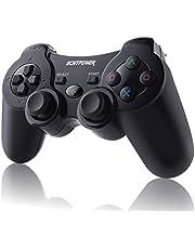 ECHTPower Wireless Controller voor PS3 bedrade PC Controller met Double Shock, 6 assen gyrosco en oplaadbare accu, gaminig Gamepad Joystick voor Windows pc Playstation 3