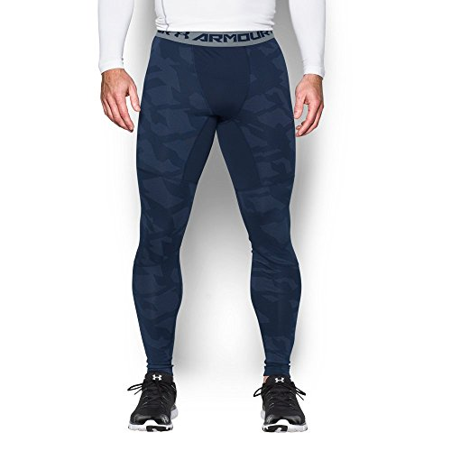 Under Armour Men's ColdGear Armour Jacquard Compression Leggings, Midnight Navy/Steel, XXX-Large