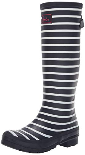 Joules Women's Welly Print Rain Boot, French Navy Stripe, 6 Medium UK (8 US)