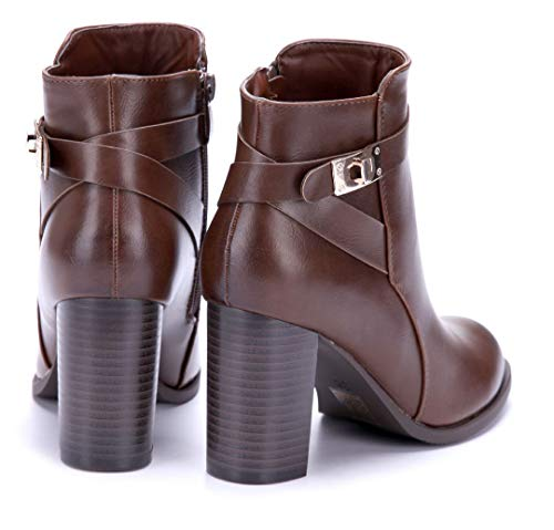 Stiefel Stiefeletten Damen Klassische Boots Nieten Schuhtempel24 8 cm Blockabsatz Schnalle Abbeville Camel kariert Schuhe qdIw6St