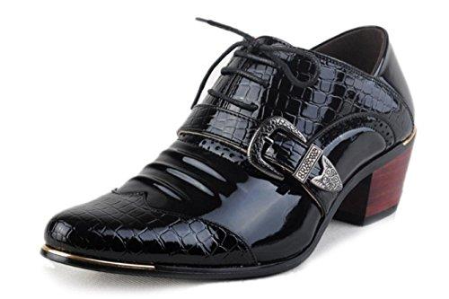 HYLM los Estilista Crocodile Hombres black de zapatos Negocios casuales zapatos hombres Shoes Banquet zapatos English los puntiagudos Aumentar patrón grRxqgpS