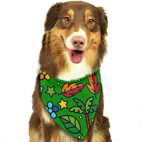 TNIJWMG Green Pattern with Masks and Natural Elements Bandana Triangle Bibs Scarfs Accessories for Pet Cats and Puppies]()