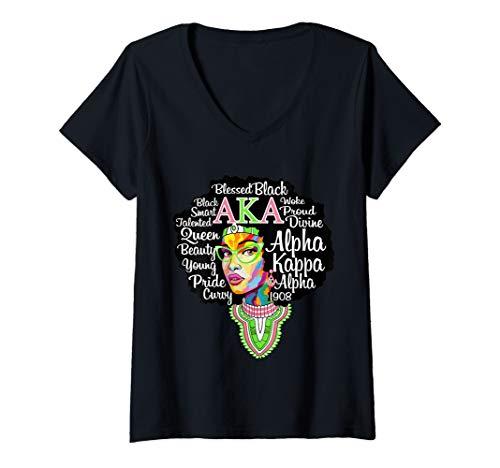 (Womens AKA Sorority Shirt for Alpha Pretty Girl Kappa Women Gift V-Neck)