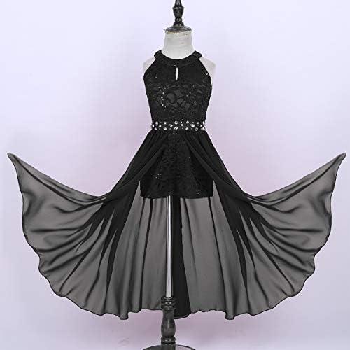ranrann Kids Girls Sleeveless Floral Lace Shiny Rhinestone Maxi Dress Birthday Party Formal Dance Romper Gown
