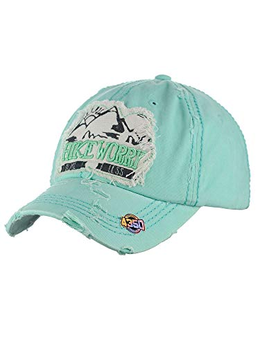 (NYFASHION101 Womens Baseball Cap Distressed Vintage Unconstructed Embroidered Dad Hat, Hike, Mint)