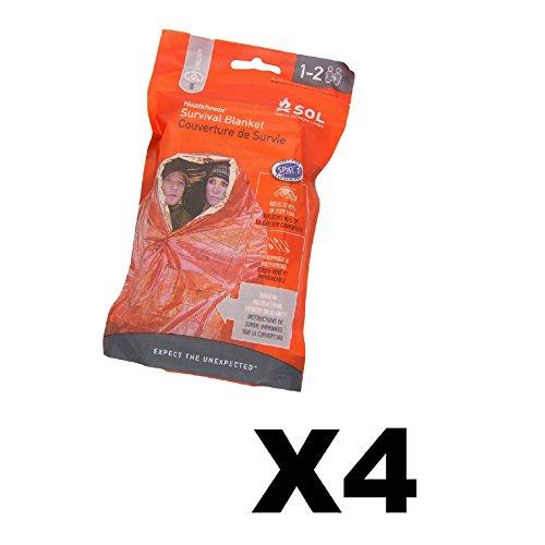 Adventure Medical Kits SOL Survival Blanket 2- Person Emergency Heat (4-Pack) Heatsheet 2 Person