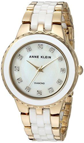 (Anne Klein Women's AK/2712WTGB Diamond-Accented Gold-Tone and White Ceramic Bracelet)