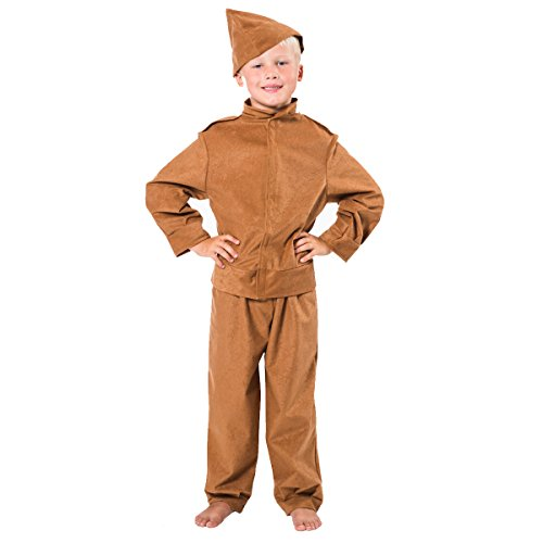 Home Guard/Soldier Costume for Kids 7-9 Years Brown -