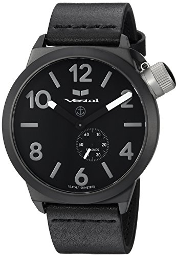 Vestal 'Canteen Italia' Quartz Stainless Steel and Leather Dress Watch, Color:Black (Model: CNT3L06)