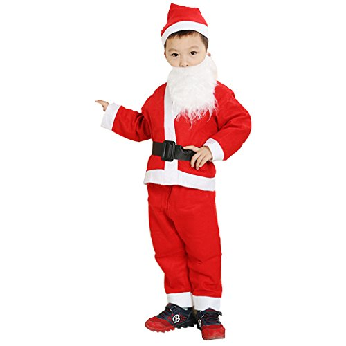 Boy's and Girl's Santa Costume with Hat for Merry Christmas Party (Large=9-11T, Boy) (Childrens Santa Costume Pattern)