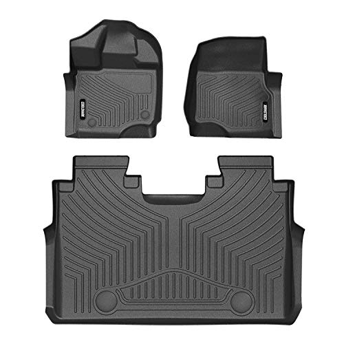 COOLSHARK Ford F150 Floor Mats, Floor Liners Custom Fit for 2015-2018 Ford F150 / Ford Lobo and 2017-2018 F-150 Raptor - Super Crew Cab,Front and Rear 2 Rows,All Weather Protection,Black