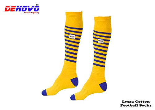 DENOVO Lycra Stripped Knee Length Socks for Men  Yellow    1 Pair