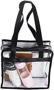 "Enkrio Clear Tote Bag Shoulder Straps & Zippered Top Handbag for School Working 11"" X 10"" X"
