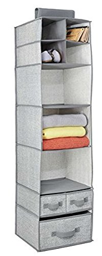 RePackMe (TM) Hanging Closet Storage Organizer (9 Shelves with 3 Drawers, Grey)