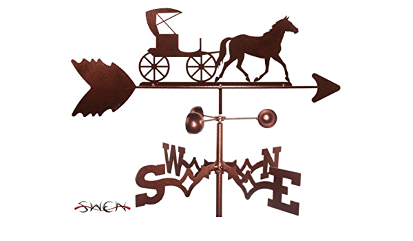 Amazon Com Swen Products Hand Made Amish Horse And Buggy Carriage Side Mount Weathervane Garden Outdoor
