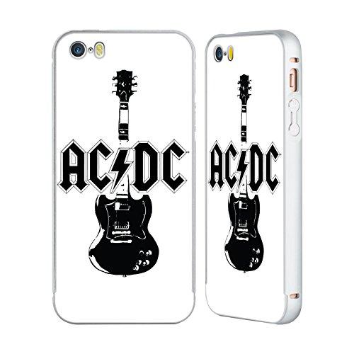 Officiel AC/DC ACDC Guitare Principale Iconique Argent Étui Coque Aluminium Bumper Slider pour Apple iPhone 5 / 5s / SE