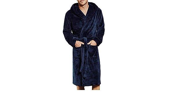 Winter Men Night Dress Warm Thick Soft Fleece Long Bath Robe Men Kimono Bathrobe Male Casual Dressing Gown Robes Sleepwear #40 Blue L at Amazon Mens ...
