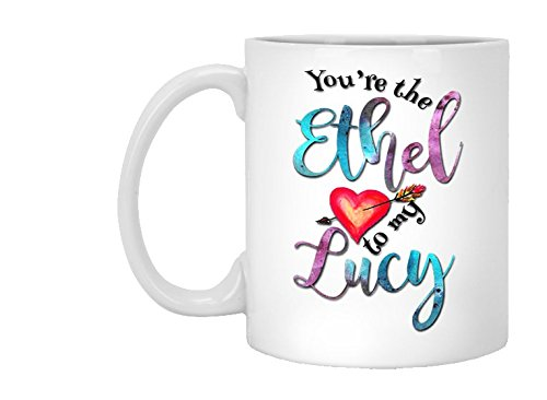 (You're the Ethel to My Lucy Mug, I Love Lucy Fan, Watercolor Best Friend Cup, Gift Wrapping Included, Coffee Tea Cocoa, 11oz, 15oz, gift)
