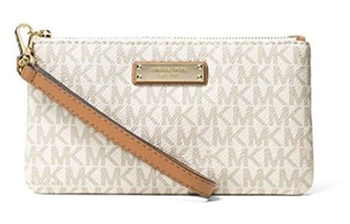 (MICHAEL Michael Kors Signature Jet Set Item Medium Wristlet, Color 150 Vanilla White Hardware)