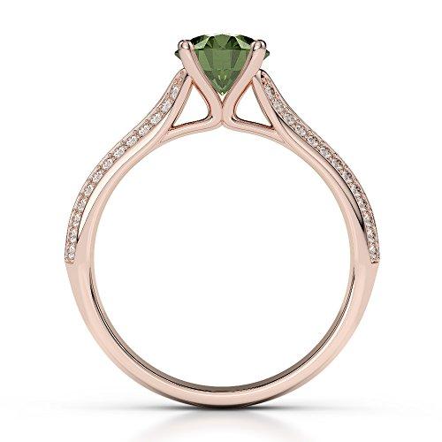 Or Rose 18carats 1CT G-H/VS sertie de diamants ronds Cut Tourmaline verte et bague de fiançailles Agdr-1200