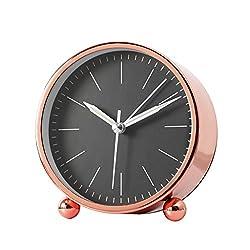 XZJT 2018 Gold Nordic Minimalist Art Mute Alarm Clock Bedside Clock Metal Creative Clock Clock Fashion Bedroom Modern Personality Desk Clock -H11cm Rose Gold