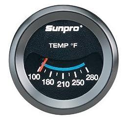 Sunpro CP7983 Mechanical Oil/Water Temperature Gauge - Black Dial