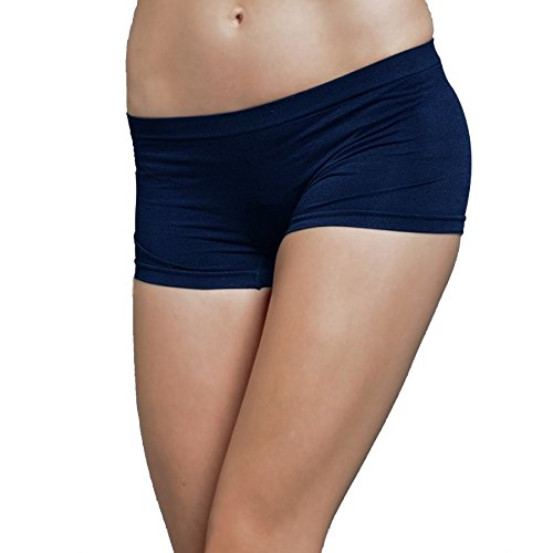Stretch Seamless Dance Exercise Yoga Mini Panties Boy Shorts Briefs Spankies (Navy) (Pants Spanky)
