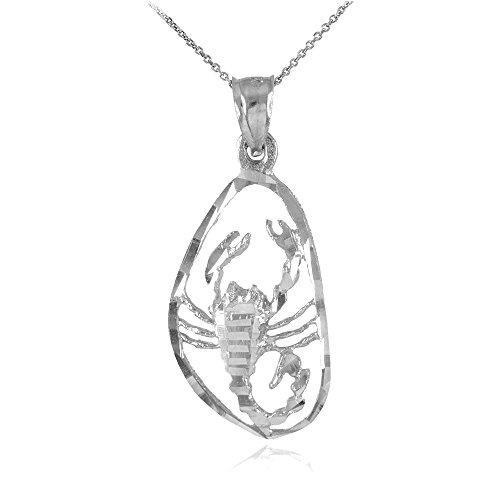Collier Femme Pendentif 14 Ct Or Blanc Étourdissant Scorpion Zodiaque Charme (Livré avec une 45cm Chaîne)