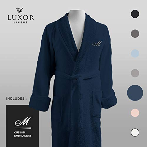 Luxor Linens - Terry Cloth Bathrobes - 100% Egyptian Cotton Bathrobe- Luxurious, Soft, Plush Durable Set of Robes (Navy, Custom)