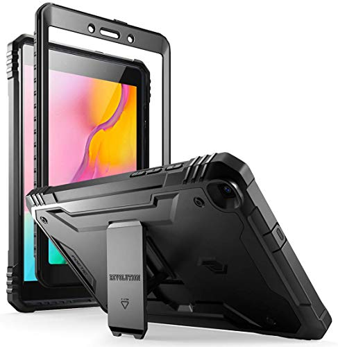Galaxy Tab A 8.0 2019 Rugged Case with Kickstand,SM-T290 SM-T295, Poetic Full Body Shockproof Cover, Built-in-Screen Protector, Revolution, for Samsung Galaxy Tab A Tablet 8.0 Inch (2019), Black