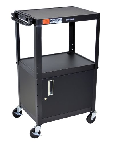 djustable Height Steel A/V Utility Cart with Cabinet - Black ()