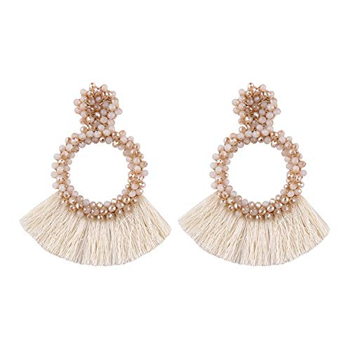 - Tassel Statement Earrings Bohemian Bead Handmade Drop Dangle Earrings for Women Girls (D-creamy)
