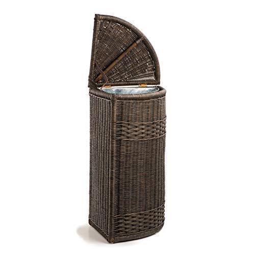 The Basket Lady Corner Wicker Trash Basket with Removable Metal Liner, Antique Walnut Brown (Antique Walnut Brown)