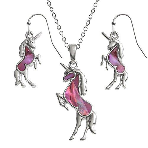 La Quirky Pagan, Rosa unicornio conjunto de joyas pendientes y collar a juego, en los 18pulgadas rodio plateado TRACE cadena, pescado gancho pendientes, hecho con abulón, hipoalergénico