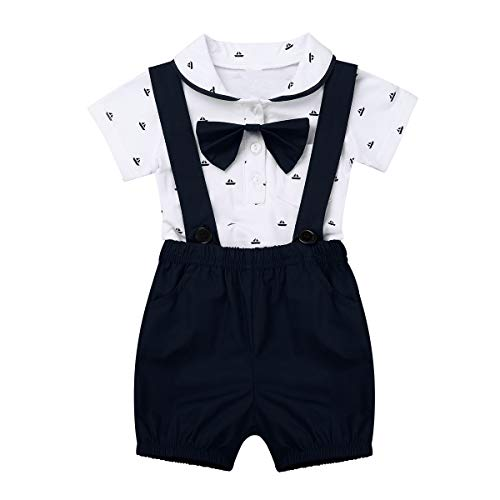 (ACSUSS Baby Boys 2 Pieces Gentleman Outfits Bowtie Short Sleeve Lapel Collar Shirt Romper with Suspenders Bib Shorts Dark Navy 6-9 Months)