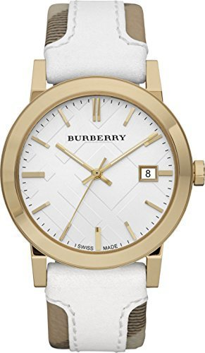 Burberry BU9015 Women's Swiss Heymarket Check Fabric and White Leather Band White Dial Watch
