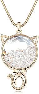 White cute cat pendant necklace