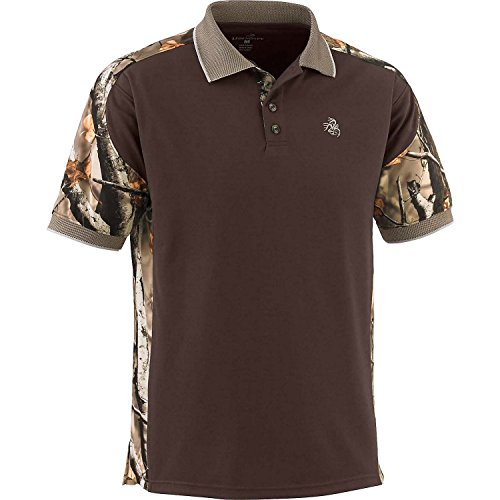 Legendary Whitetails Men's Big Game Camo Pro Hunter Performance Polo Brown Large