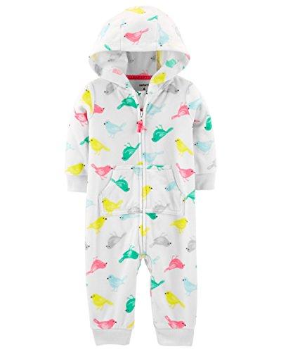 Fleece Infant Romper - Carter's Baby Girls Bird Fleece Hooded Jumpsuit (24 Months)