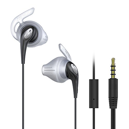 FitActive Runs by iLuv - Stereo Sports Earphones (Mic & Remote) Sweat Proof for Jogging, Running, Hiking, Traveling, All Fitness & Exercise related activities (FITACTRUNSBK) (Black)