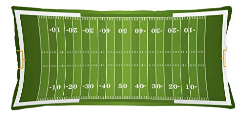 Lunarable Football Throw Pillow Cushion Cover, Sports Field in Green Gridiron Yard Competitive Games College Teamwork Superbowl, Decorative Square Accent Pillow Case, 36 X 16 Inches, Green White