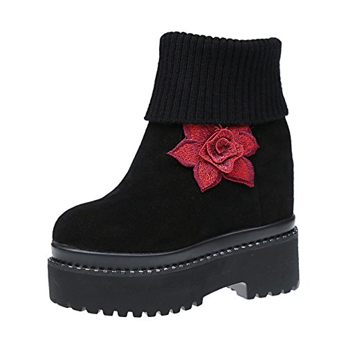 KHSKX-Warm In Winter With Cashmere Boots New Autumn And Winter Thick Boots With Thick Wool Two Muffin Wearing Martin Boots Black cNGzgpTPj