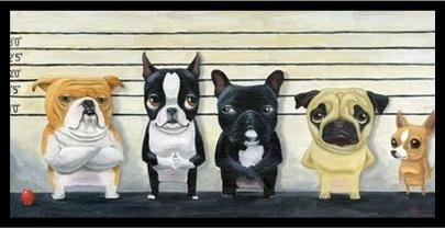 buyartforless IF IC R618 24x12 1.25 Black Plexi Framed The Lineup by Brian Rubenacker 24X12 Art Print Poster Dog Humor Cute Funny Dogs Police (Dog Line Art)