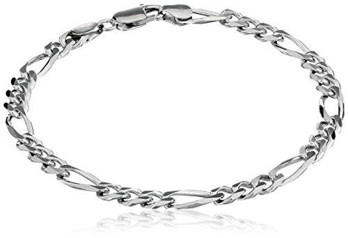 Men's Sterling Silver Italian 5.5mm Solid Figaro Chain Link Bracelet, - Bracelet Silver Clean