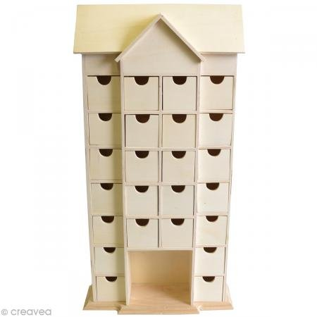 Artemio 14001542 Wooden Advent Calendar House with Drawers To Decorate-25cmx 51cmx 9Cm