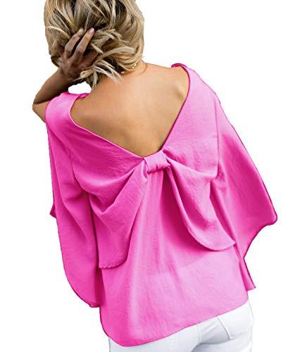 Tops Chemisiers Papillon Rouge ud Manches Femmes N Longues Printemps Fashion Col Nu Tee et Onlyoustyle V Fendues Rose Dos Haut Automne Blouses Shirt xq0wvBTBU